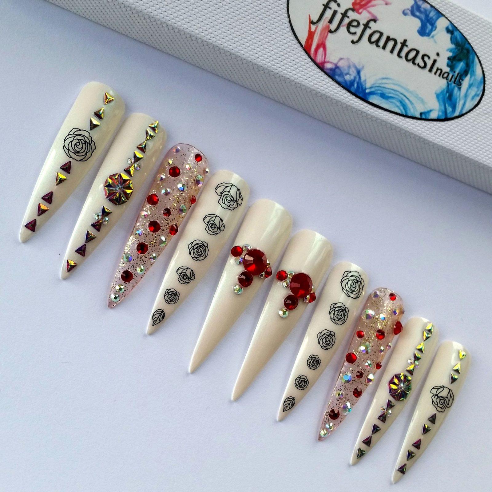 Extra Long Stiletto Nails with Swarovski crystals – Fife Fantasi Nails